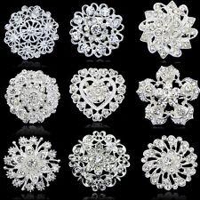 Bling Bling Wedding Bouquet Flower Rhinestone Crystal Brooch Pin Unisex Gifts