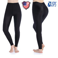 Womens Thin Super Soft Leggings Seamless Skinny Pants Black Stretch Trousers