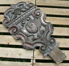 More details for  reclaimed large carved wooden gothic panel plaque coat of arms 65cm tall