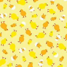 Fabric Henrietta Hen Baby Chickens Chicks on Yellow Cotton by the 1/4 yard BIN