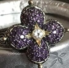 "NEW!  BARBARA BIXBY ""Lotus Flower"" Ring - SS and Amethyst w/ 18K Gold -- 7"