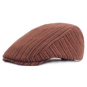 Men Winter Warm Stripe Cabbie Driving Cap Adjustable Beret Flat Newsboy Hats