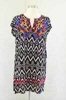 NWT THML Black Ikat Geometric Print Embroidered Tunic Shift Dress Size M Boho