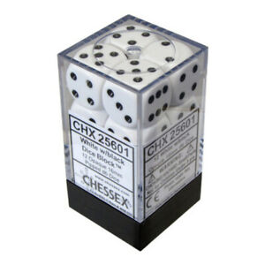 Chessex Opaque 16mm D6 12-Die Dice Set White & Black NEW