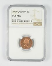 PL67 RD 1957 Canada 1 Cent - Graded NGC *089