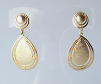 Vintage pierced dangle earrings over-sized teardrops brushed gold statement