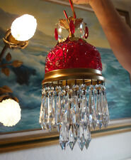 Vintage ruby lady cupcake glass crystal Brass hanging SWAG lamp chandelier