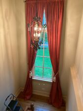 Red Faux-silk Double Lined Curtain Panels, beautiful!