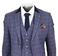 Para hombre Traje de 3 piezas de novio Tweed Azul Cuadros a Medida Con Boda Retro Clásico