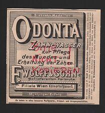 KARLSRUHE, Werbung 1898, F. Wolff & Sohn Odonta Zahn-Wasser