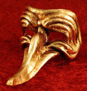 Maske Venedig- Venetian Capitano Lang Nase Golden Papier Mache Echt 1666
