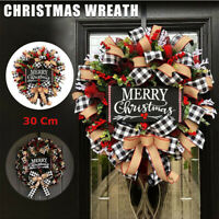 2020 Christmas Buffalo Check Wreath Christmas Festival Window Wall Wreath