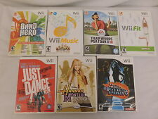 7 Wii GAMES RATED E/E10+ Wii FIT/TIGER WOODS/MUSIC/BAND HERO/DDR/HANNAHM LOT