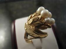Vintage Unique Design 14k Solid Yellow Gold Pearl Cluster Ring Rare Design