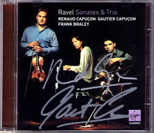 Renaud & Gautier CAPUCON Signiert RAVEL Violin Cello Sonata Trio CD Frank BRALEY