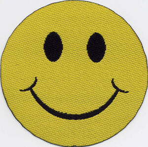 Smiley Face Woven Badge Patch Motif 50mm Diameter IRON ON