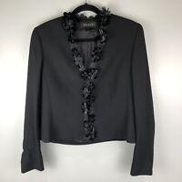 Escada Blazer Jacket Cropped Black Wool Beaded Applique Hook Closure 40 US M