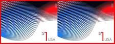 USA 2015 PATRIOTIC WAVES $1 imperforated (no DIE CUTS) HORIZONTAL PAIR MNH