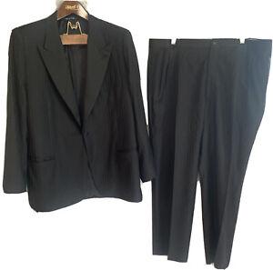 Canali Men's Black Satin Peak Lapel Tuxedo Dinner Suit EU 58 48R USA