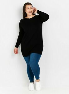Evans Womens Black Button Detail Knitted Tunic Top Long Sleeve Shirt Blouse