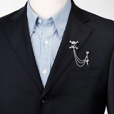 Fashion Male Alloy Skull Head Design Tassels Chain Collar Brooch Tip Pin Gental