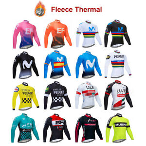Mens Cycling Jersey Long Sleeve Jacket Thermal Cold Wear Bicycle Tops Winter