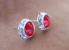 HYPOALLERGENIC Stud Earrings Swarovski Elements Crystal Red with Rhinestones