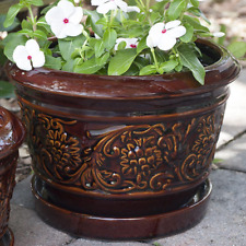 Brown Rustic Damask Ceramic Planter 10 in. Dia Patio Porch Entryway Garden Decor