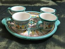 "Vietri Italian Pottery Turquoise ""Geometric"" Pattern 4 Demitasse Cups w/Tray"