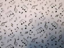 MUSIC NOTES WILD BLACK WHITE BACKGROUND COTTON FABRIC BTHY