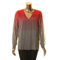 CALVIN KLEIN NEW Women's Printed V-neck Long-sleeve Blouse Shirt Top TEDO