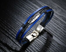 18K Gold GP Vintage Leather Classic Men's Necklace bracelet Black/Blue