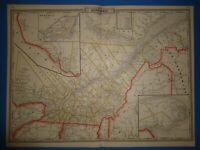 Vintage 1886 RAILROAD MAP of QUEBEC, CANADA Old Antique Original Atlas Map