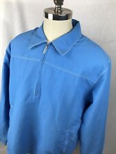 Mens XL Tori Richard Honolulu Blue Vented Half Zip fishing nautical jacket