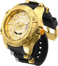 New Mens Invicta 26521 Star Wars C-3PO AUTOMATIC Black Rubber Strap Watch