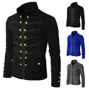 Men Gothic Steampunk Military Parade Jacket Cardigan Tunic Rock Army Outwear