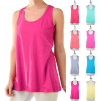 Women's Loose Fit Solid Plain Sleeveless Scoop Neck Tank Top Casual Cotton S M L