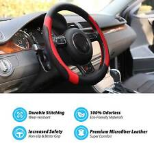Black&Red 38cm/15'' Microfiber Leather Soft Anti-Slip Car Steering Wheel Cover