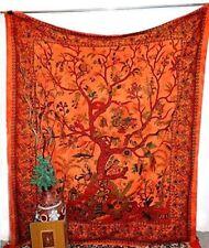 Tree of Life Boho Bedspread Orange mandala tapestry tie dye hippie wall hanging
