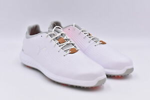 Men's Puma Ignite Power Adapt Athletic Golf Shoes, White / Red, 11.5