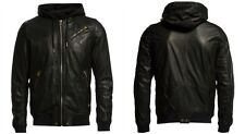 • 65%OFF• $798 NWT DIESEL L-HASSO Hooded Black Sheepskin Leather Jacket Men's XL