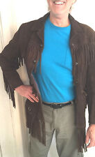 Vintage 60s Hippie Boho Suede Leather Long Fringe Western Jacket Coat L  UNISEX