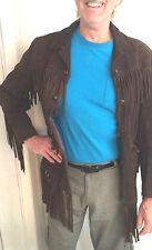 Vintage 60s Hippie Boho Suede Leather Long Fringe Western Jacket Coat L  UNISEX