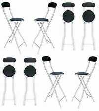 BREAKFAST KITCHEN BAR PARTY HIGH FOLDING PADDED CHAIR STOOL IN 3 COLORS 94CM NEW