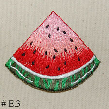 "1pc Red Watermelon Slice Summer Fruit Iron On Embroidered Applique 2 3/4"" H"