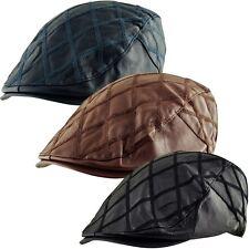Men's Faux Leather Cabbie Newsboy Golf Ivy Diagonal Quilt Check Flat Cap