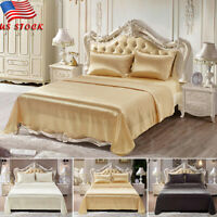4Pcs Sheet Blanket Silk Bedspreads Bed Linen Pillowcase Sheet Blanket Queen King
