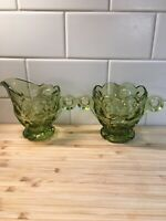 Vtg Heisey Imperial Verde Green thumbprint glass sugar and creamer EUC