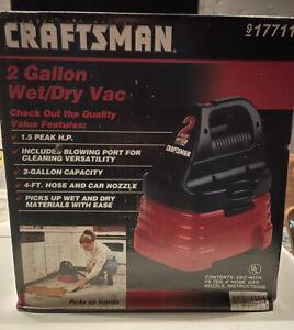 Craftsman 2 Gallon Wet Dry Shop Vac- Vintage -NOS -917711. Incl. Crevice Tool