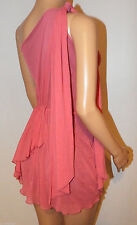 VICKY MARTIN coral pink 1shoulder elasticated waist tiered mini dress BNWT 12 14